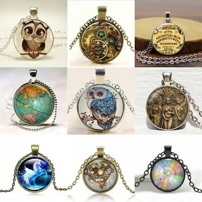 Vintage Steampunk Owl Cabochon Glass yingyang Pendant Chain Necklace Jewelry Hot