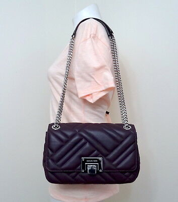 ad38d358ccd4 Michael Kors Vivianne Quilted Leather Medium Shoulder Flap Bag in Damson  Purple