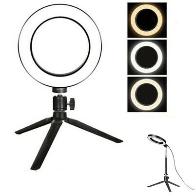 "6"" LED Ring Light Dimmable Kit for Makeup Phone Camera Selfie Live w/ Tripod GW"