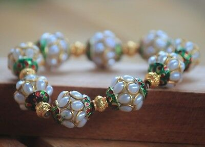 Afghan Stunning Beautiful  White Beads Bracelet  Brass Islamic Turkish  Style