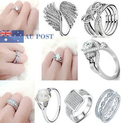 Women Fashion Crystal 925 Silver Plated Wedding Engagement Bridal Rings Jewelry