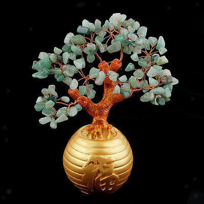 Wealth Lucky Money Tree Feng Shui Crystal Plastic Green Home Decor Ornaments