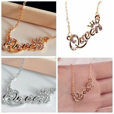Nice Elegant Letter Queen Pendant Shiny Rhinestone Clavicle Chain Necklace