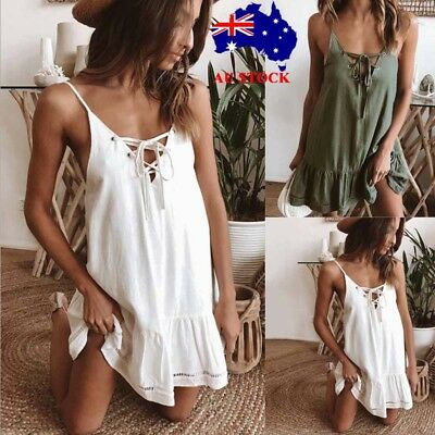 Women V Neck Lace Up Strappy Mini Dress Ladies Summer Beach Party Sundress 10-16