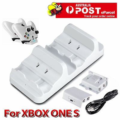 NEW Dual Charging Dock Charger+2 Rechargeable Battery For Xbox One S Controller