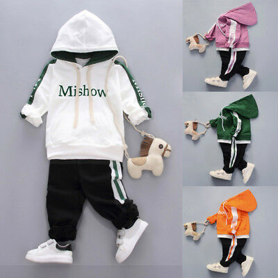 2PCS Newborn Toddler Baby Boys Girls Hooded Tops+Pants Set Kid Clothes Outfit UK