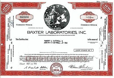 Baxter Laboratories Inc., 1972 (10 Shares)