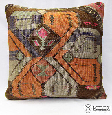 "Handmade Kilim PILLOW CUSHION COVER - Kilim Rug Turkish Anatolian 20"" x 20"""