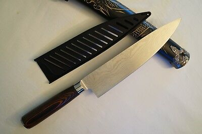"8"" Japanese Santoku Damascus Style Chefs Kitchen Knife with Paka Handle & Sheath"
