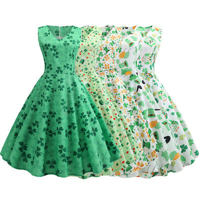 Women's Vintage 50s 60s Retro Rockabilly Pinup Clover Printed Party Swing Dress