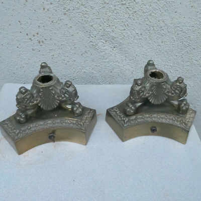 2 PAW Vintage brass plated spelter lamp base shabby old part shabby Gothic