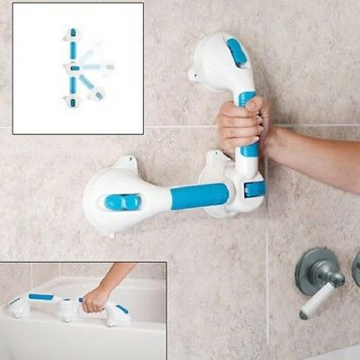 Dual Lock Safety Handle 2 Way Bath Shower Wall Suction Cup Swivel Grab Bar Aid