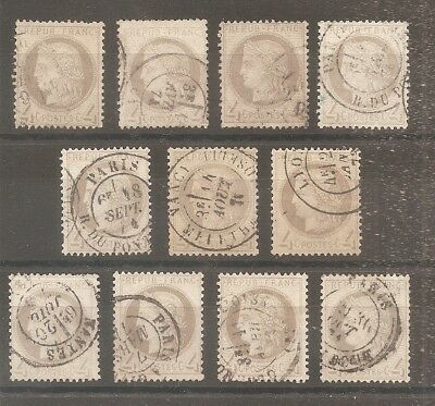Lot Timbre France Frankreich 1872 11X N°52 Oblitere Used Cachet