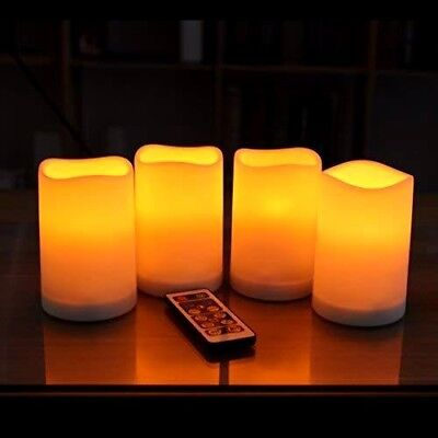 Flameless Candles Ivory LED Flickering Flame Remote Control Timer 4 PACK