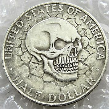 Hobo Nickel COLLECTIBLE 1964 Kennedy Half Dollar skull zombie skeleton COIN