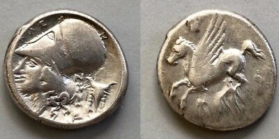 Ancient Corinth Stater (400 BC) Pegasos flying Helmeted head of Athena left 22mm