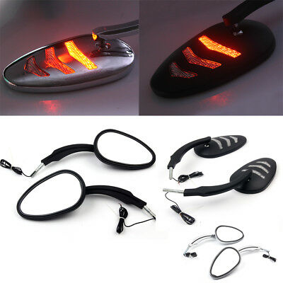 Rear View Mirror with LED Turn Signal For Harley Dyna Road King 14-up 2019 NEW
