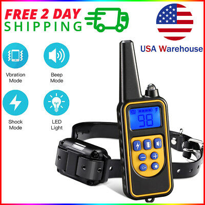 Dog Shock Training Collar Rechargeable Remote Control 875 Yards Waterproof IP67