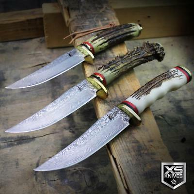 """3pc SET 9"""" Ornate Faux STAG & DAMASCUS Survival Hunting Knife Fixed Blade SHEATH"""
