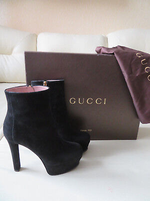 af3fe9a04607  995 GUCCI BOOTS Leila Ankle Beige Suede Leather Platform High Heel ...