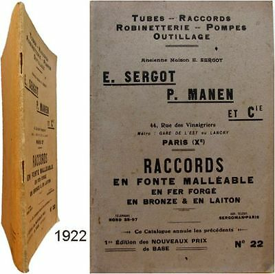 Catalogue Sergot Manen Paris 1922 Raccords fonte fer tubes plomberie sanitaire
