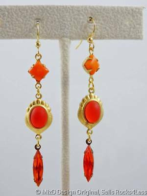Art Deco Style Long Multi Shape Orange Stone Dangle Earrings