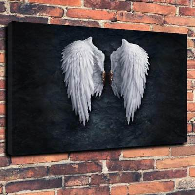 "BANKSY ANGEL WINGS Printed Box Canvas Picture A1.30""x20""Deep 30mm Frame"