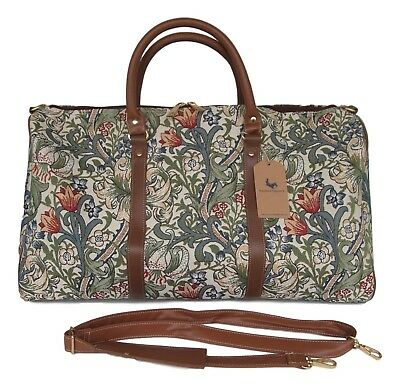 Golden Lily William Morris Tapestry Travel Gym or Overnight bag w Shoulder Strap