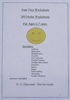 200  Year 2  Maths Worksheets  -   Numeracy Resource for KS1 children on CD