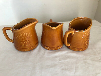 Three Franciscan Ware Harvest Brown Golden Wheat Pattern 5 Oz. Pitchers