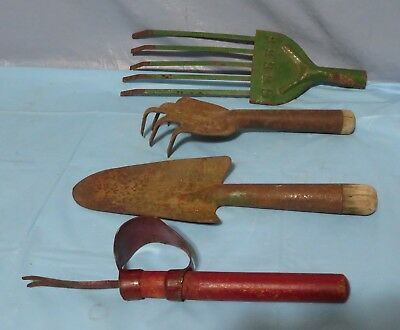 LOT of 4 Vintage garden hand tools wood metal rusty primitive rake shovel