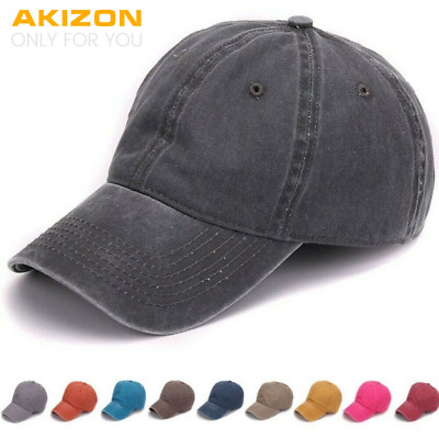 Plain Baseball Caps for Men Women Kids Wide Brim and Low Profile Adjustable Back