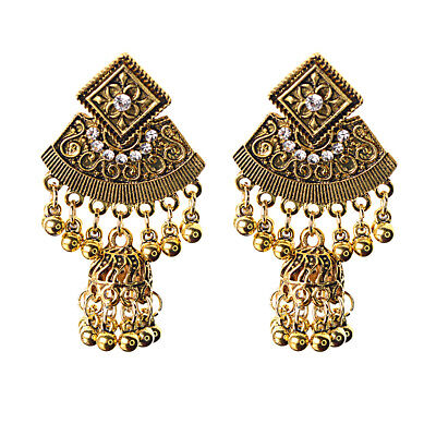 Vintage Antique Gold Carved Dangle Ethnic Wedding Stud Earrings Indian Jewelry