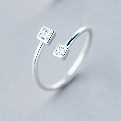 New Arrival 925 Silver Rings Square Crystal CZ Opening Rings for Women Jewelry