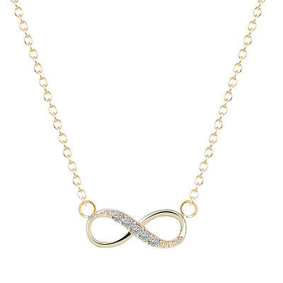 Lucky Number Eight Geometric Gold Silver Chain Necklaces Infinity Crystal Pendan