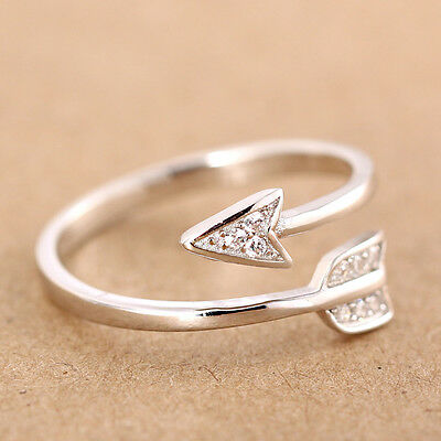 925 Silver Chic Cupid Arrow Ring Crystal Zircon Rings Open Adjustable Women Ring