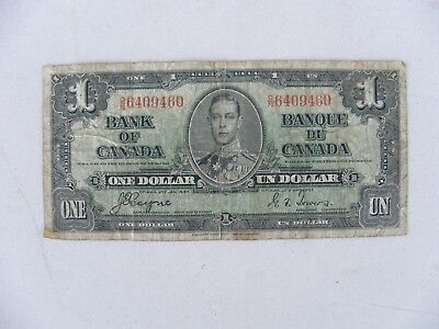 1937 Bank of Canada $1 One Dollar Bill Note Circulated FREE ShipN 48 States