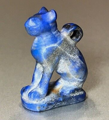 Ancient Egyptian Lapis Lazuli Pendant Of Goddess Bastet - Charming Piece!