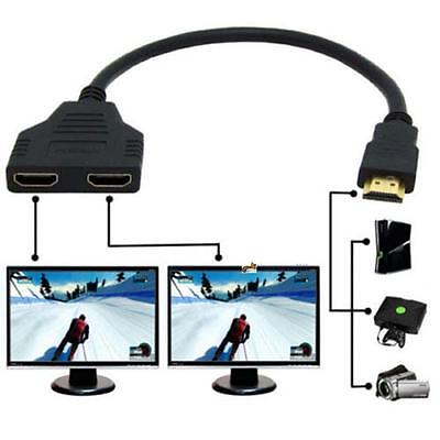 HDMI 1 Male To Dual HDMI 2 Female Y Splitter Cable Adapter HD LED LCD TV UP#