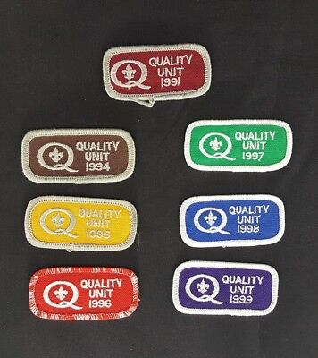 BSA Boy Scouts Quality Unit Award Patch lot of 7 from 1991 94 95 96 97 98 99