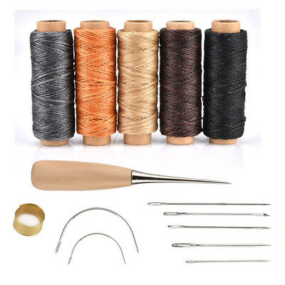 14Pcs Leather Craft Hand Stitching Sewing Tool Thread Awl Waxed Thimble Kit