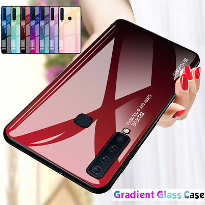 Shockproof Gradient Tempered Glass Case Cover For Samsung Galaxy A9 2018 A7 A8
