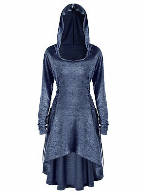 3be5afa1d2 Women Layered Lace Up High Low Hooded Coat Thumb Punk Gothic Tunic Hoodie  Jacket