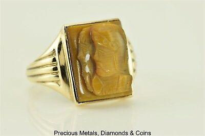 10k Yellow Gold Carved Tiger`s Eye Roman Solider Statement Signet Ring Sz: 10