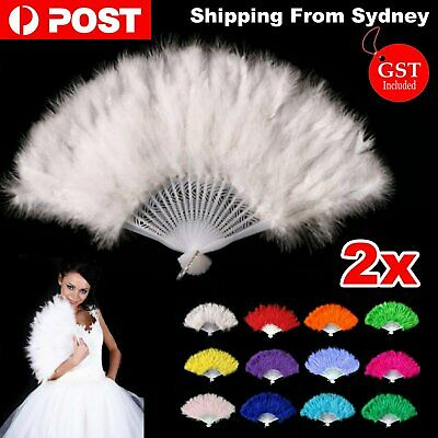2x Feather Fan Flapper Folding 20s Charleston Gatsby Burlesque Dance Fancy Party