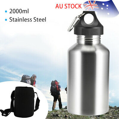 2L Stainless Steel Water Drink Bottle with Pouch - Large Mouth