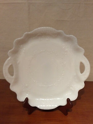 """Antique MILK GLASS Opaque 2 Open Handled 11"""" PLATE Serving Tray FLORAL Embossed"""