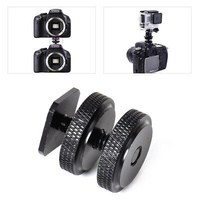 Durable 3/8 Inch Dual Nuts Tripod Mount Screw to Flash Camera Hot Shoe Adapter