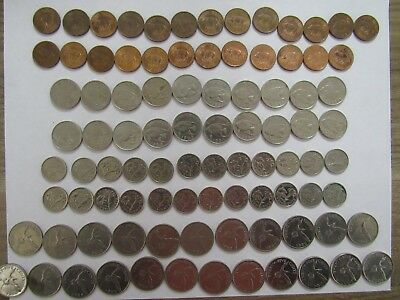 Lot of 92 Different Bermuda Coins - 1970 to 2008 - Circulated