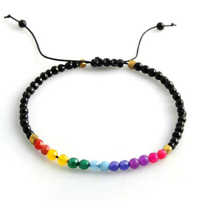 Unisex Chakra Adjustable Lucky Natural Stone Beads Beaded Yoga Bracelet Gift